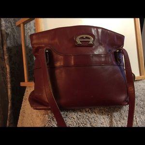 Aigner genuine leather burgundy used purse